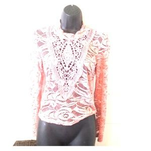 Victorian charlotte-ruse lace embroidery top